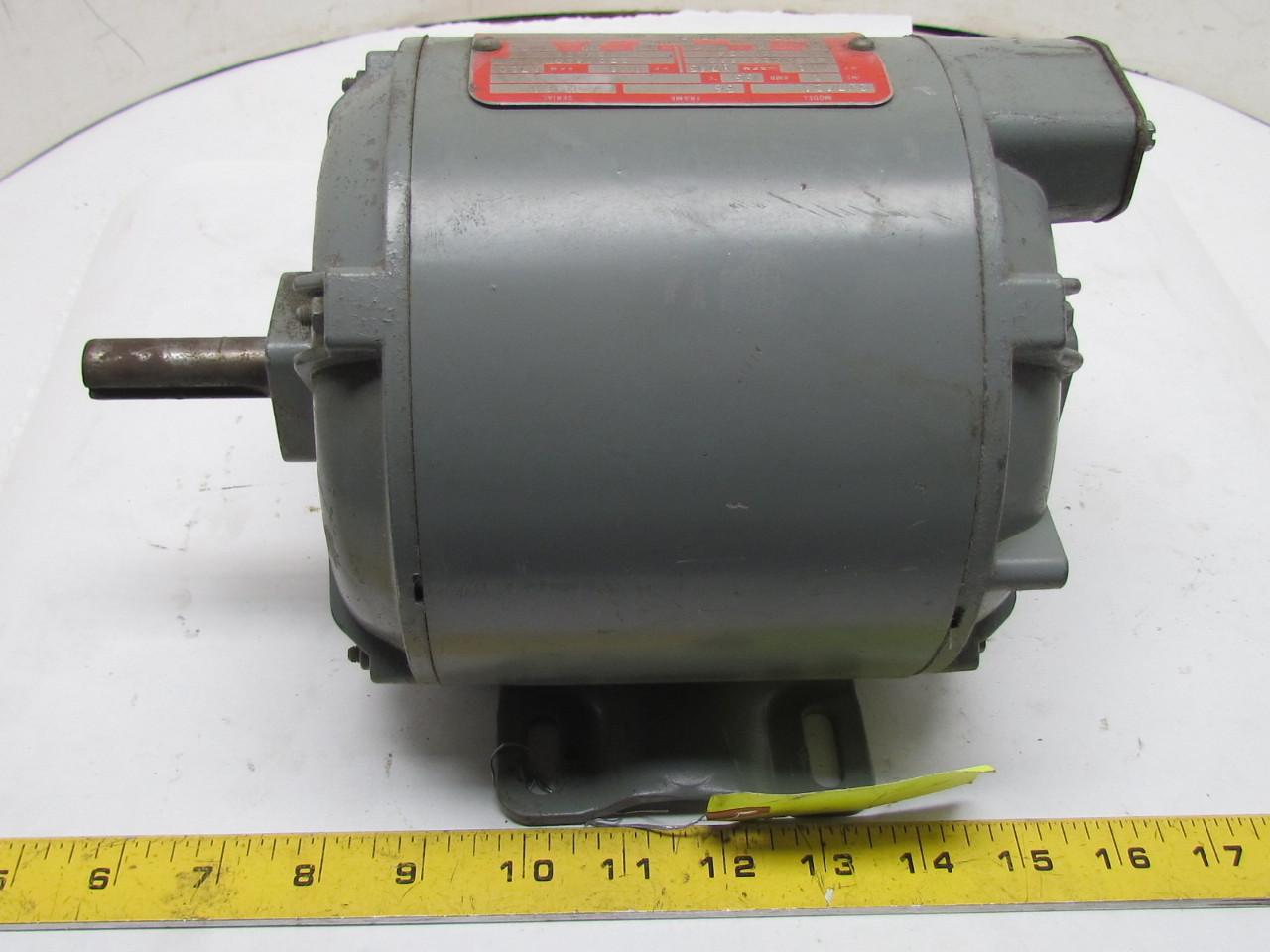 Delco 2j7424 1 4 Hp Electric Motor 3 Ph 56 Frame 1745 1750
