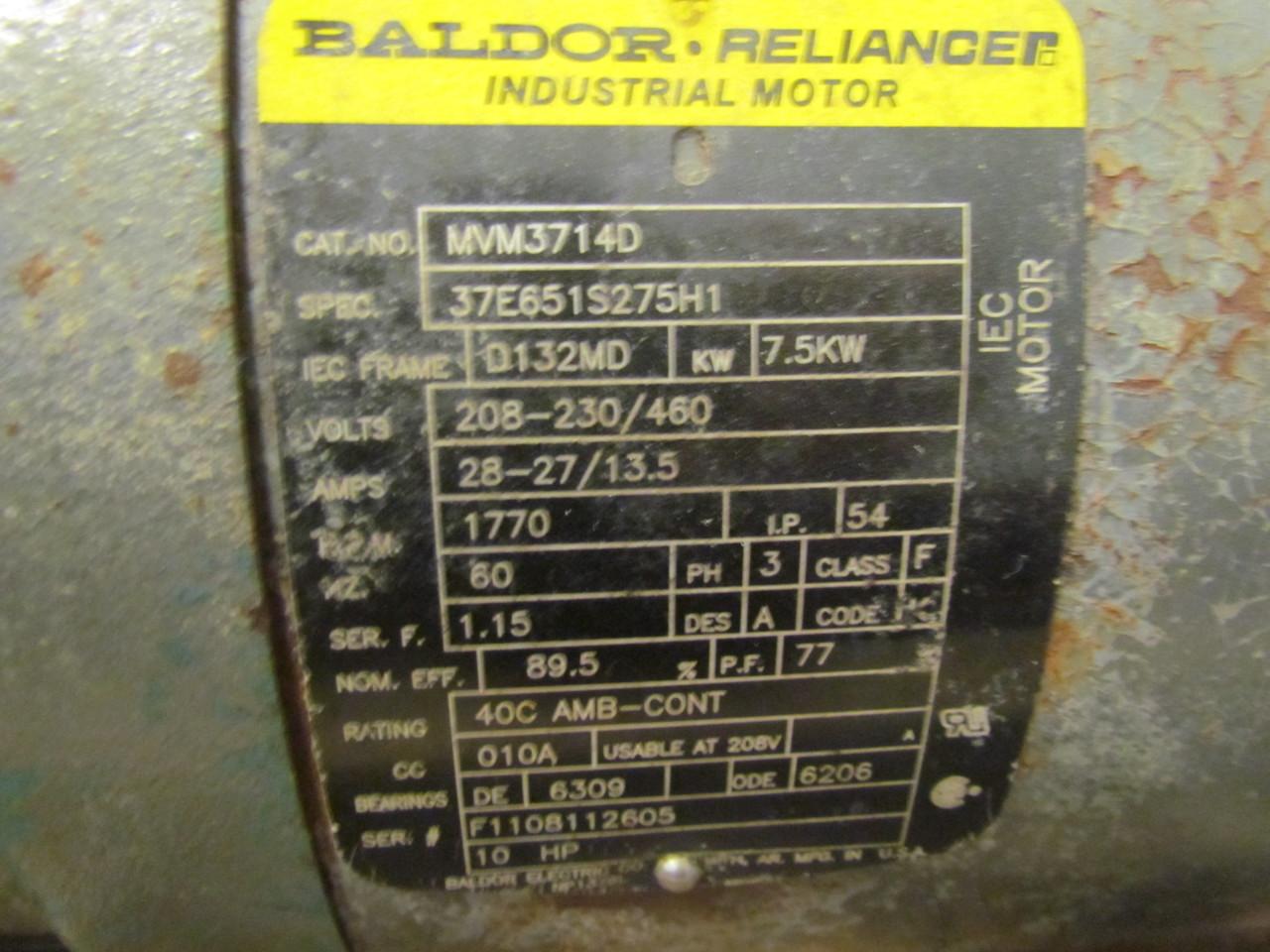 Baldor reliance mvm3714d 10 hp 3ph 208 230 460 volt for Reliance dc motor frame size chart