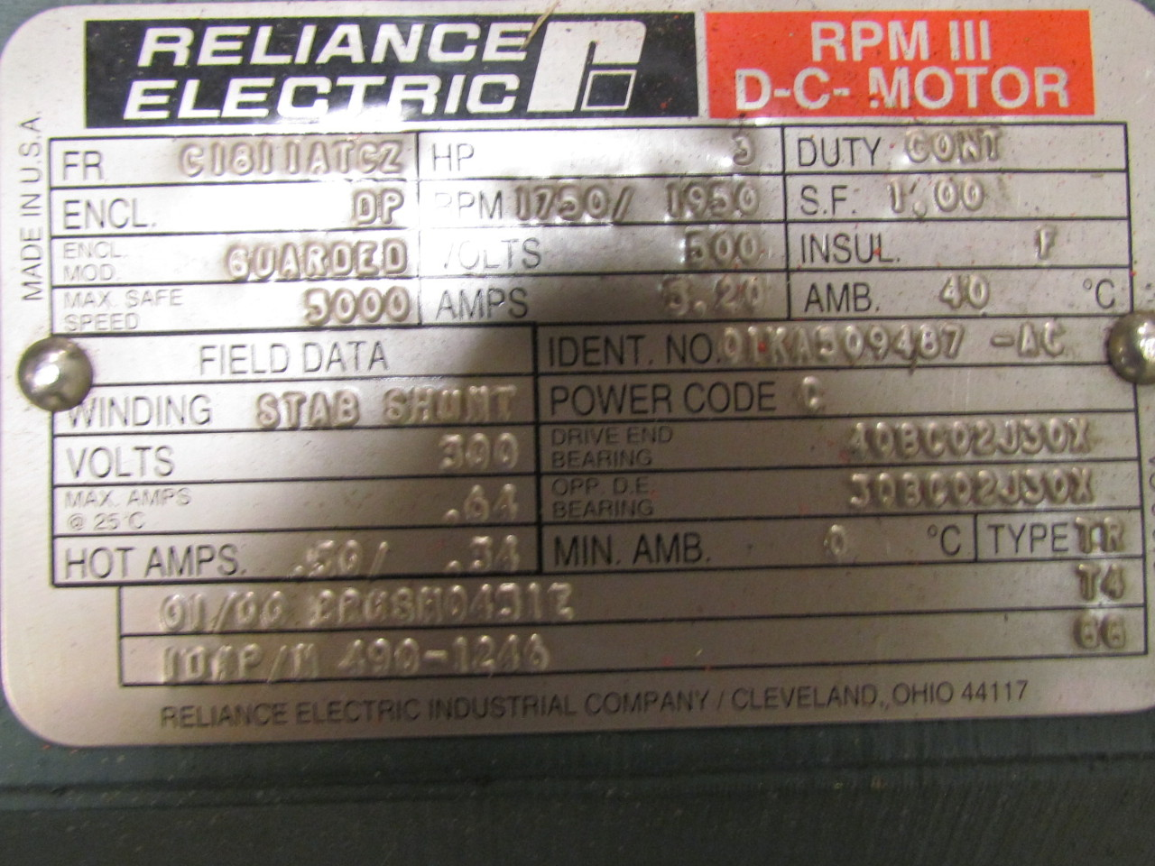 Reliance electric rpm iii dc motor t18r1333 3 hp ac for Reliance dc motor frame size chart