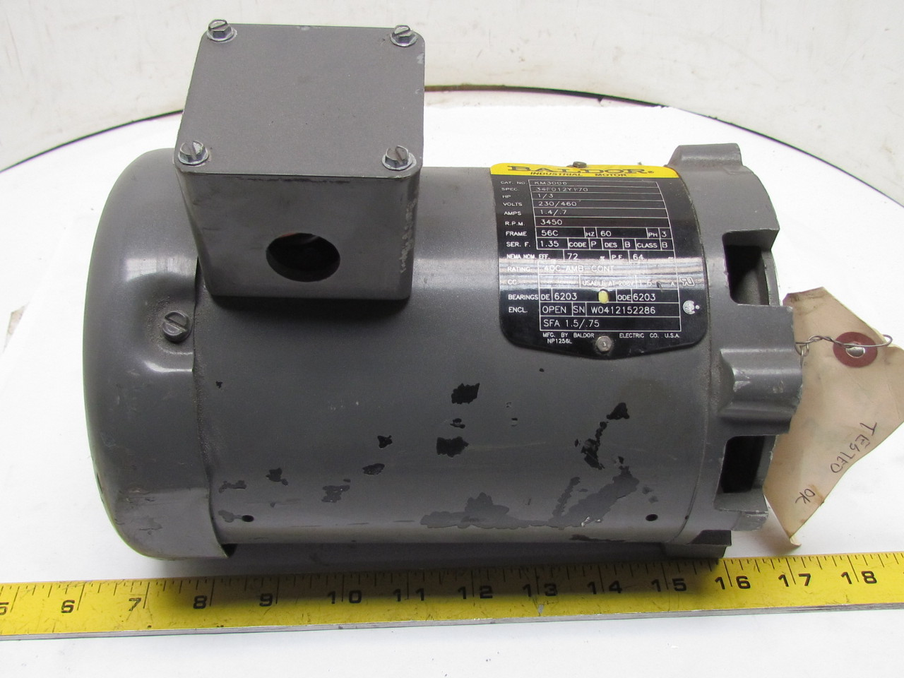 Baldor km3006 34f012y170 3ph ac electric motor 1 3hp 3450 for 56c frame motor dimensions