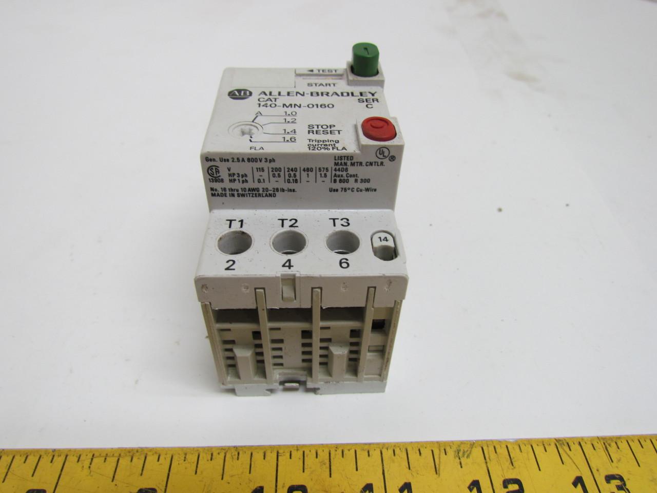 Allen Bradley 140 Mn 0160 Manual Motor Starter 2 5a 600v