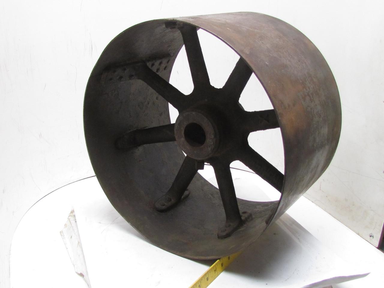 Vintage steampunk spoked cast iron riveted flat belt
