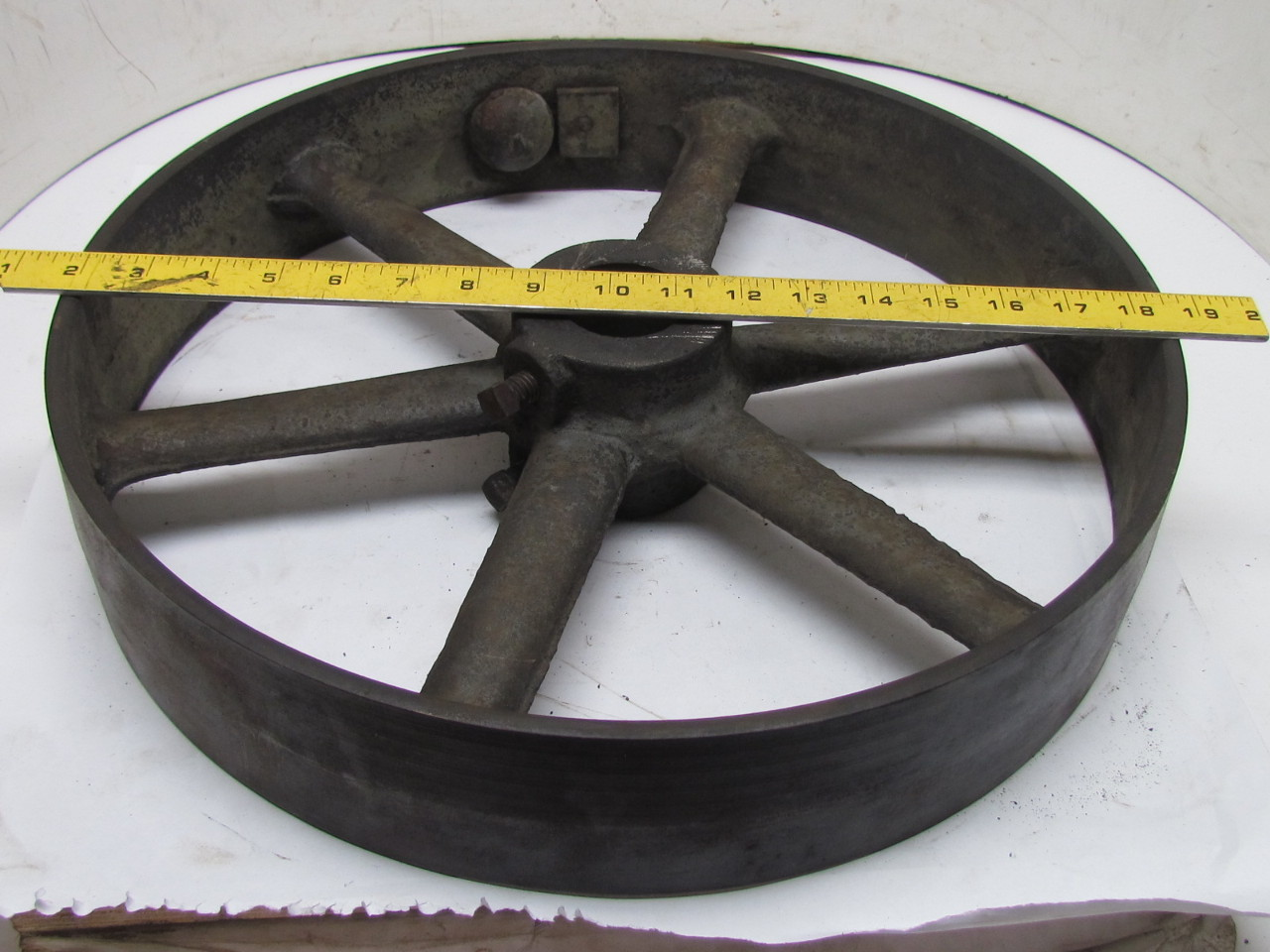 Antique Cast Iron Flywheels : Vintage industrial steampunk cast iron spoked flywheel