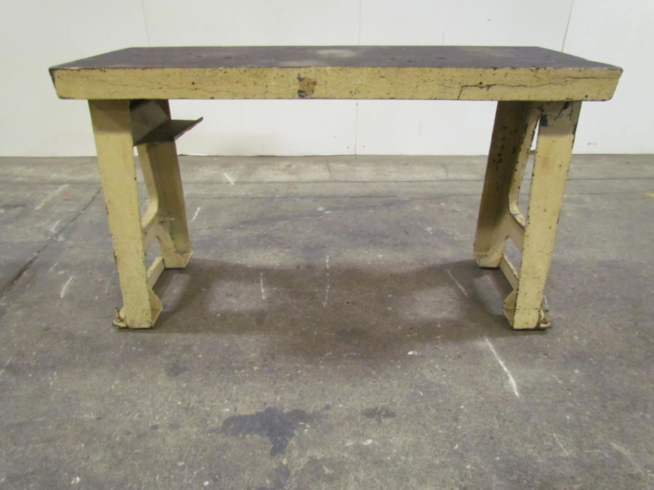 Vintage Yellow 2 Leg Mid Century Industrial Cast Iron Layout Table Workbench Bullseye