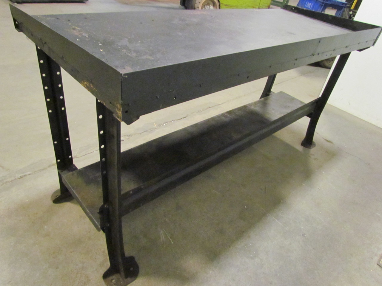 Vintage Industrial Steel 4 Leg Workbench Table 72 X28 X34 Height Black Ebay