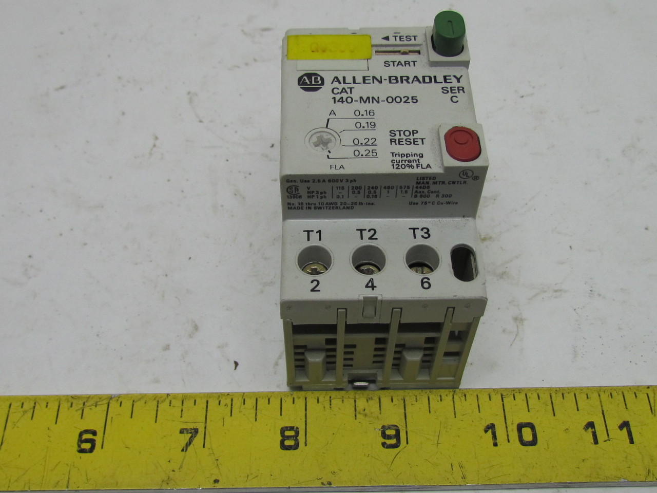 A B Allen Bradley 140 Mn 0025 Manual Motor Starter