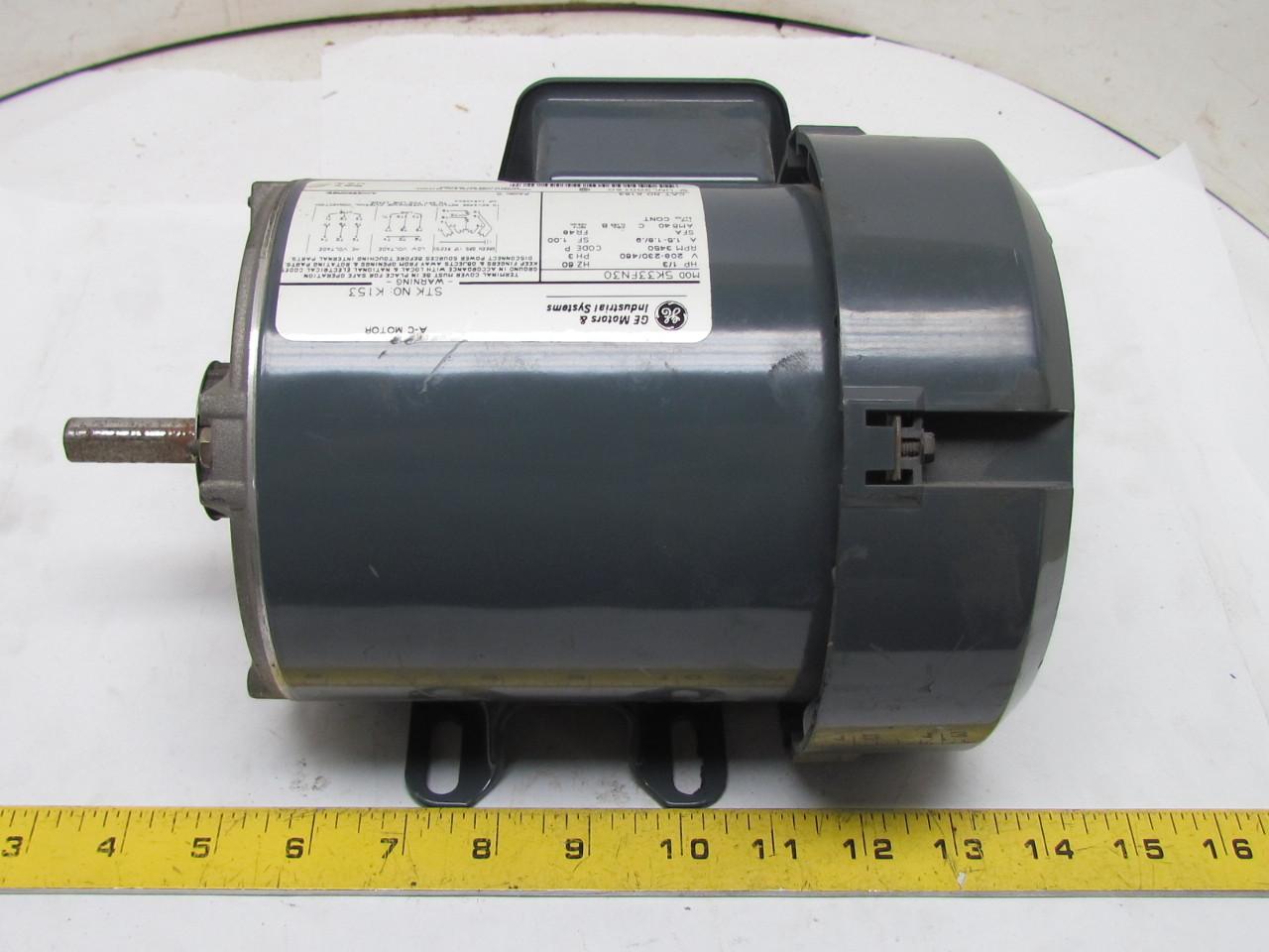 Ge 5k33fn30 3ph Ac Electric Motor 1 3hp 3450 Rpm 208 230