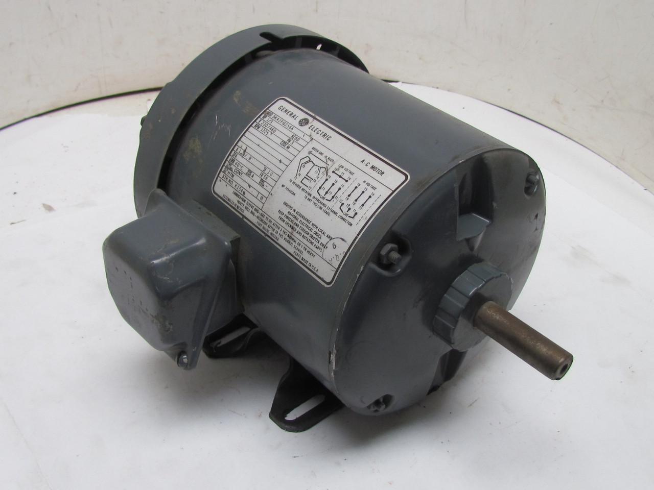 Ge 5k42fg2566 3ph Ac Electric Motor 1 3hp 1725 Rpm 230