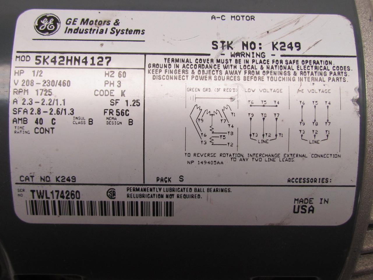 General electric 5k42hn4127 3ph ac motor 1 2hp 1725 rpm for General motors parts division