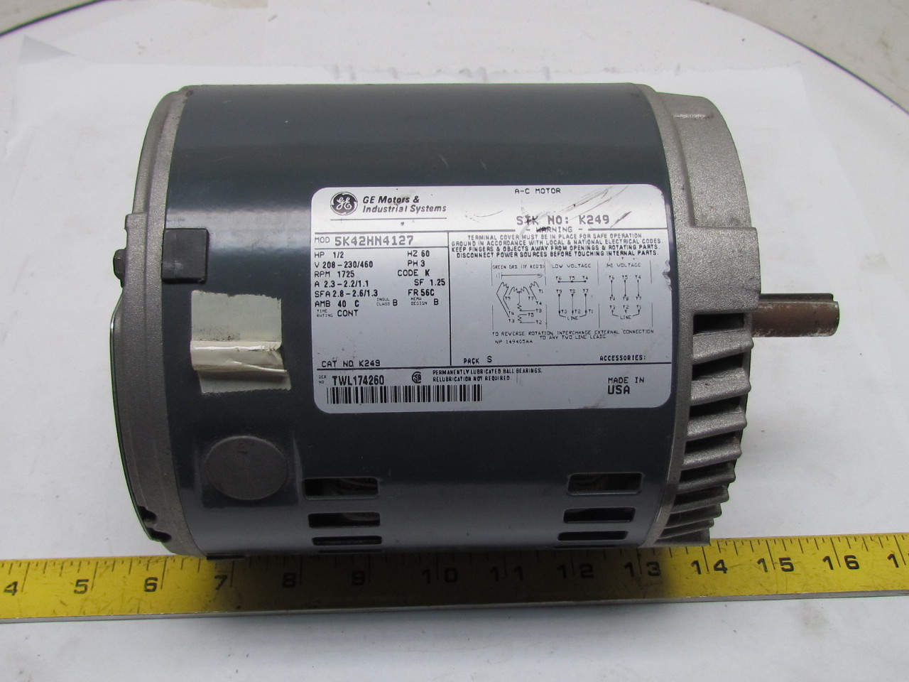 General electric 5k42hn4127 3ph ac motor 1 2hp 1725 rpm for 1 2 hp ac motor
