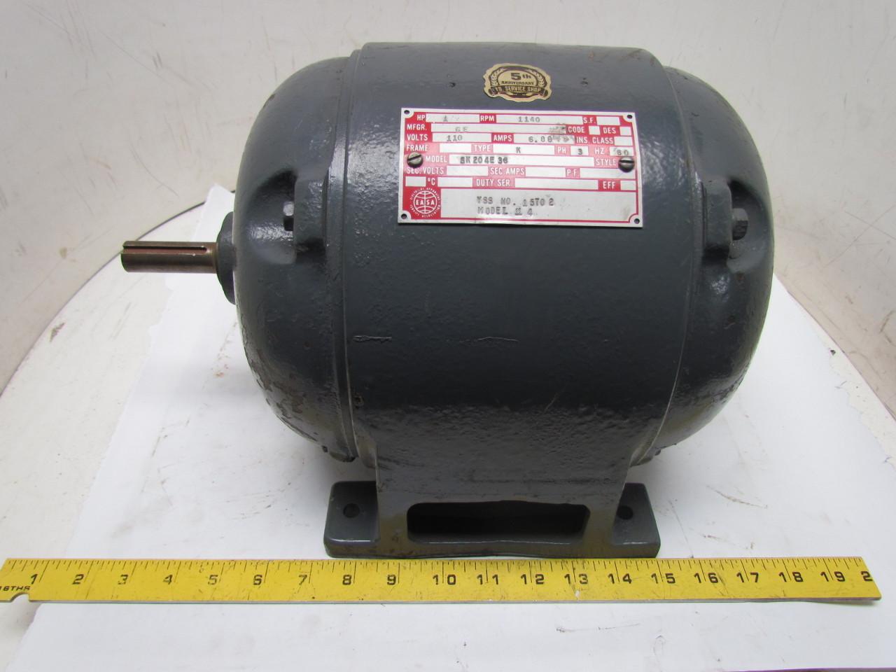 Ge 5k204e36 3 phase 1hp 110v vintage electric motor 1140 for 3 phase 1hp electric motor