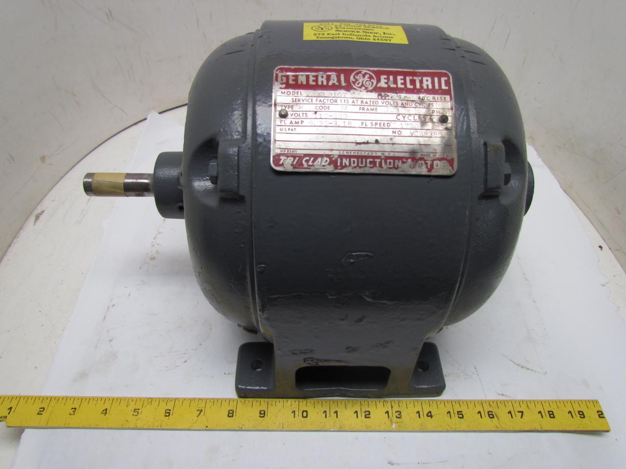 Ge cl3107 3ph 1hp 110 220v vintage motor 1720 rpm pre nema for Electric motor rebuilders near me