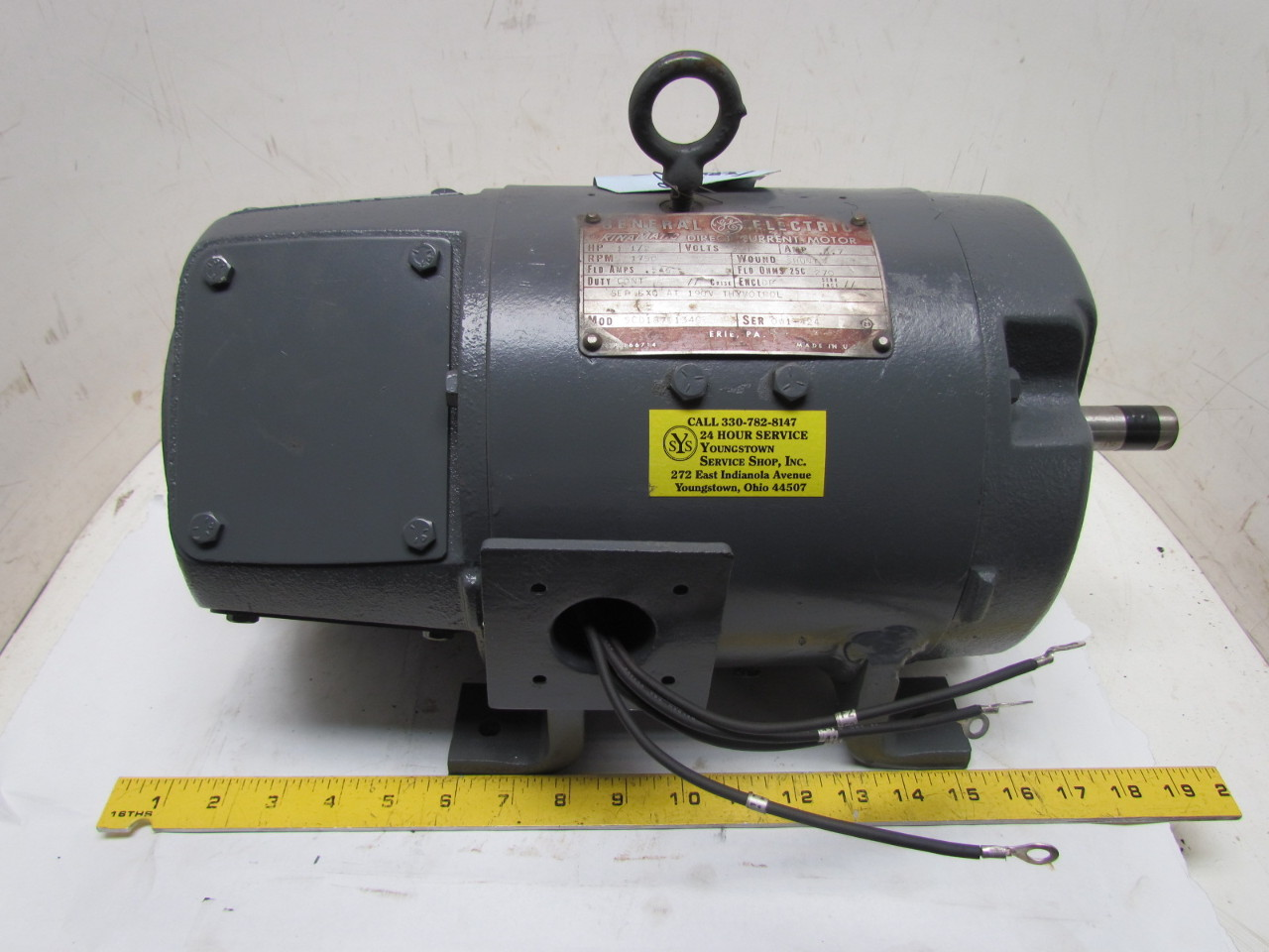 General electric 5cd187e134c kinamatic 1 5hp 350v dc motor for 15 hp dc electric motor