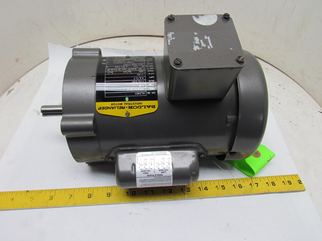 baldor reliance kl3401 single phase electric motor 1 6hp. Black Bedroom Furniture Sets. Home Design Ideas