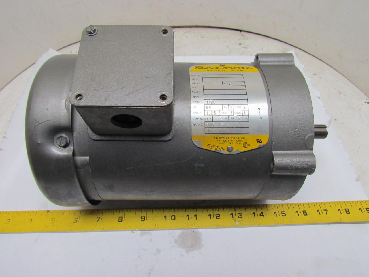 Baldor vm3538 5 34a63 873 3 phase electric motor 1 2hp for 56c frame motor dimensions