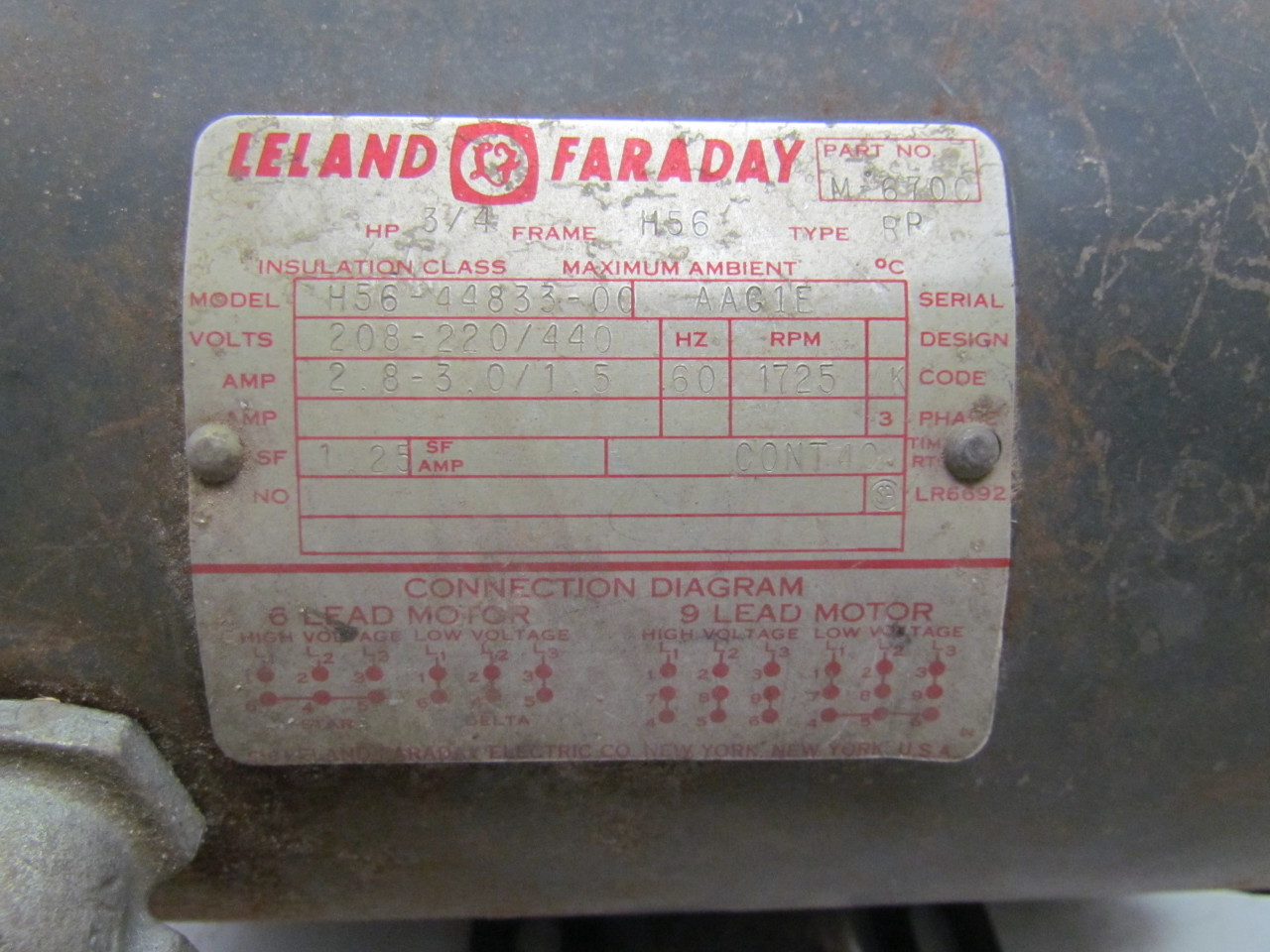 58791 leland faraday h56 44833 00 3ph 3 4hp electric motor 1725 rpm 208 220 440v h56 9 diagrams dayton electric motor wiring diagram dayton motor dayton 3 4 hp motor wiring diagram at soozxer.org