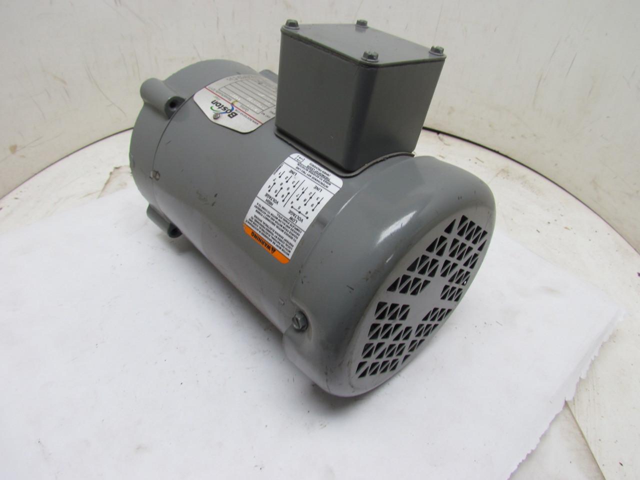 Boston gear futf b 66223 3 phase electric motor 1 2hp 1725 for Two phase electric motor