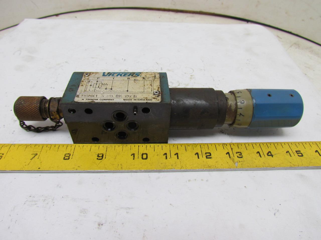 Vickers DGMX1 3 PB BK 20 B Pressure Reducing Hydraulic Valve Keyed