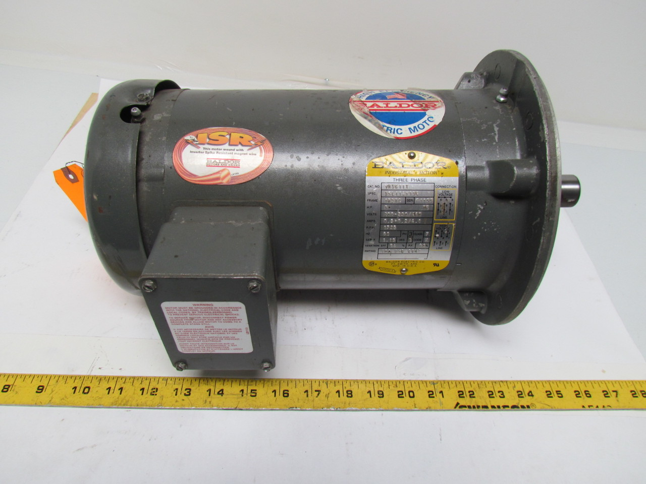 Baldor Vm3611t Ac Motor 3hp 3 Ph 208 230 460v 1725 Rpm