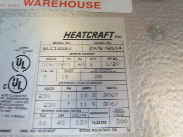 Heatcraft Elc122bj 1  60 Evaporator For Cooler Or