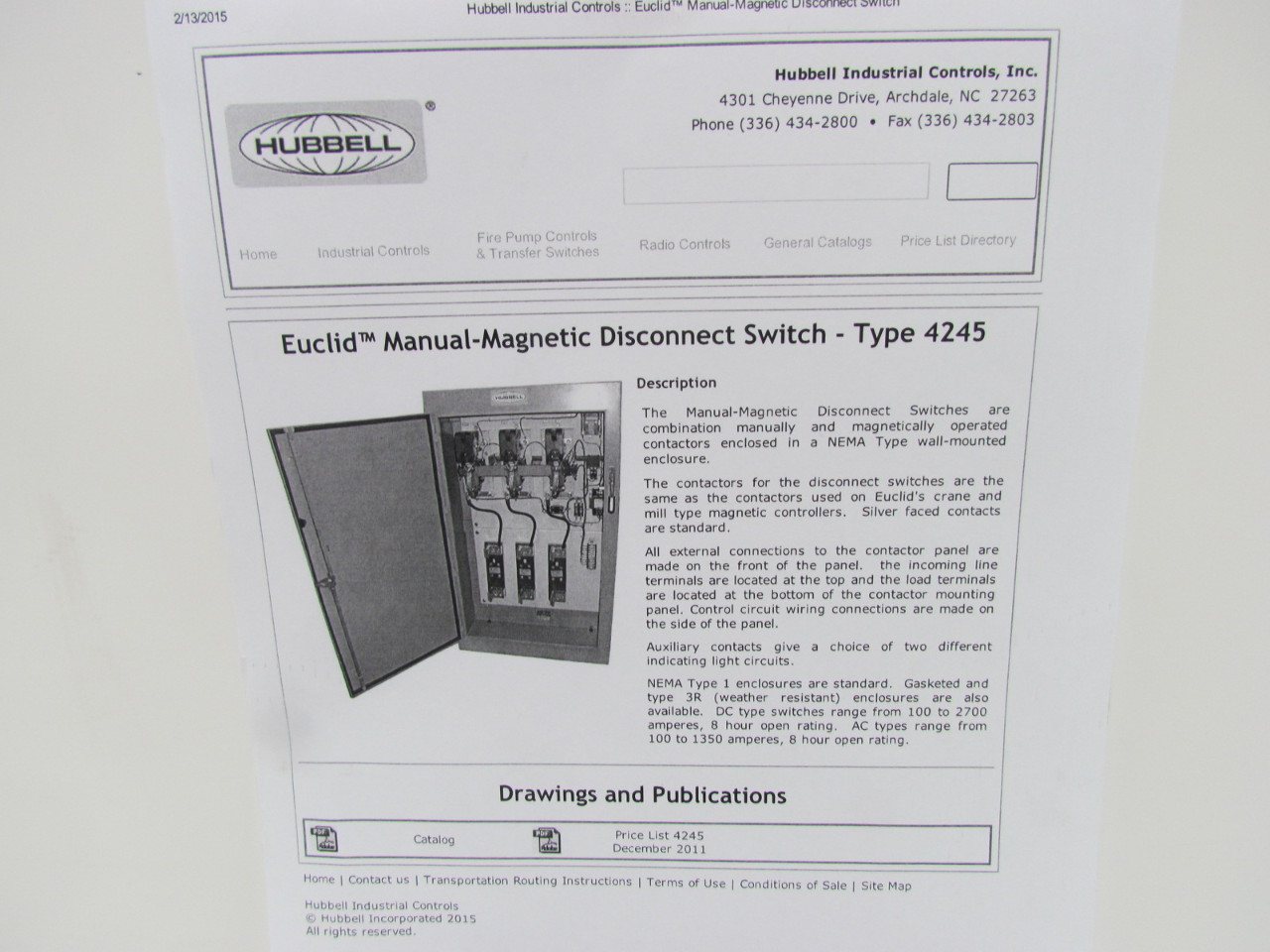 hubbell b euclid manual magnetic disconnect switch type hubbell b 74971 001 euclid manual magnetic disconnect switch type 4245 sz 5