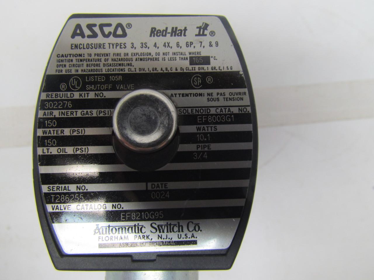 Asco Ef8210g95 Solenoid Shutoff Valve 3  4 U0026quot  Npt 120v Coil