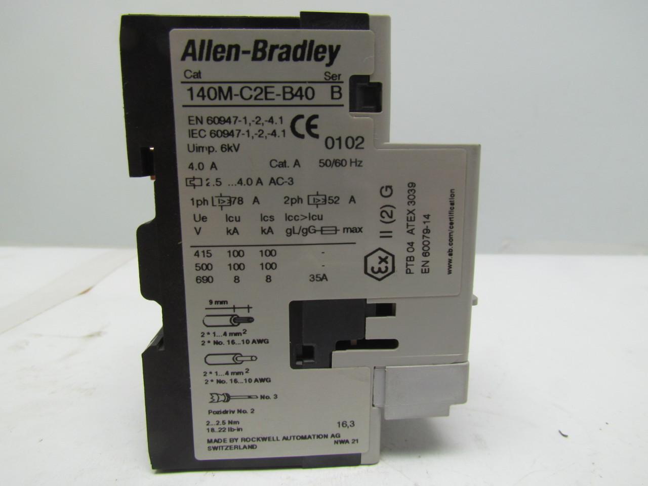 Allen Bradley 140m C2e B40 Series B Motor Protector