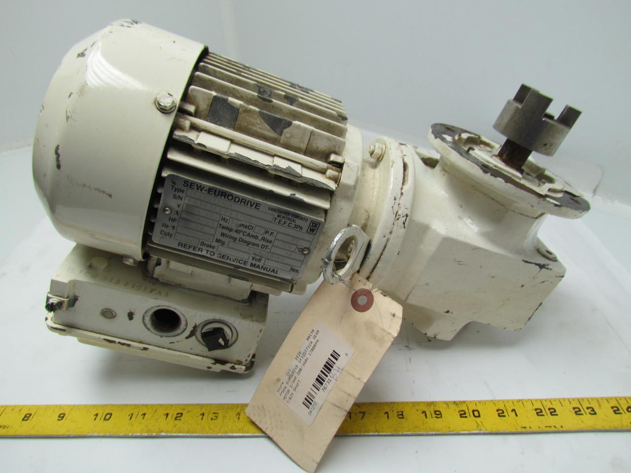 Sew eurodrive sf32dt71c4 15 1 ratio motor gearbox for Sew eurodrive gear motor