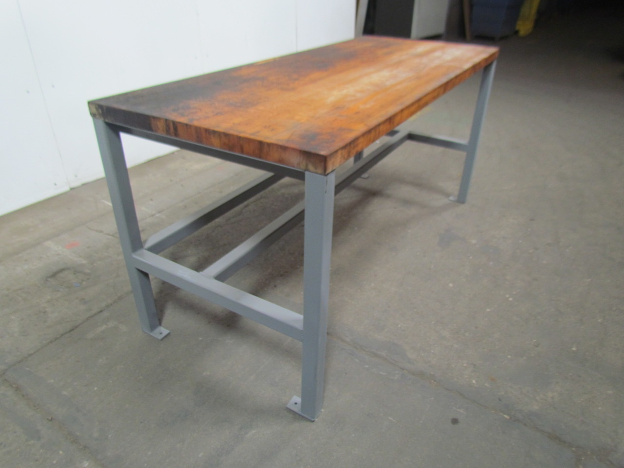 Welded Steel Industrial Work Bench W 1 3 4 Butcher Block Top Tall