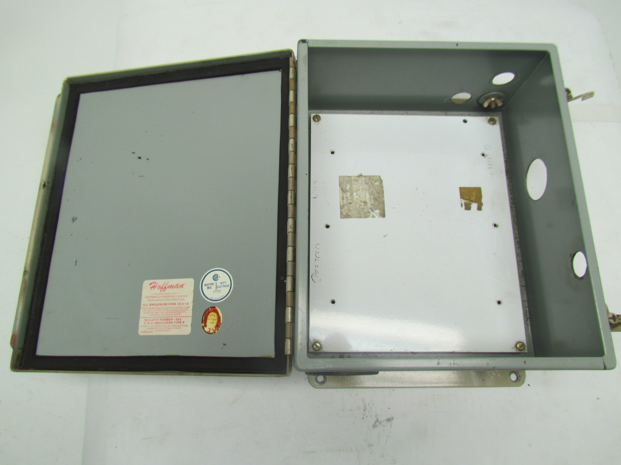 Hoffman 12x10x5 type 12 13 electrical enclosure with for Electric motor enclosure types
