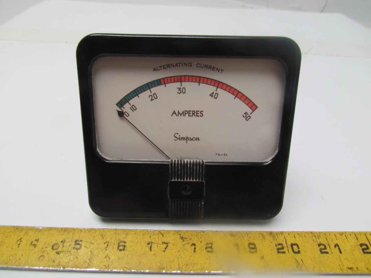 Analog Ac Amp Meter : Simpson amp meter analog panel mount ac ampers ebay