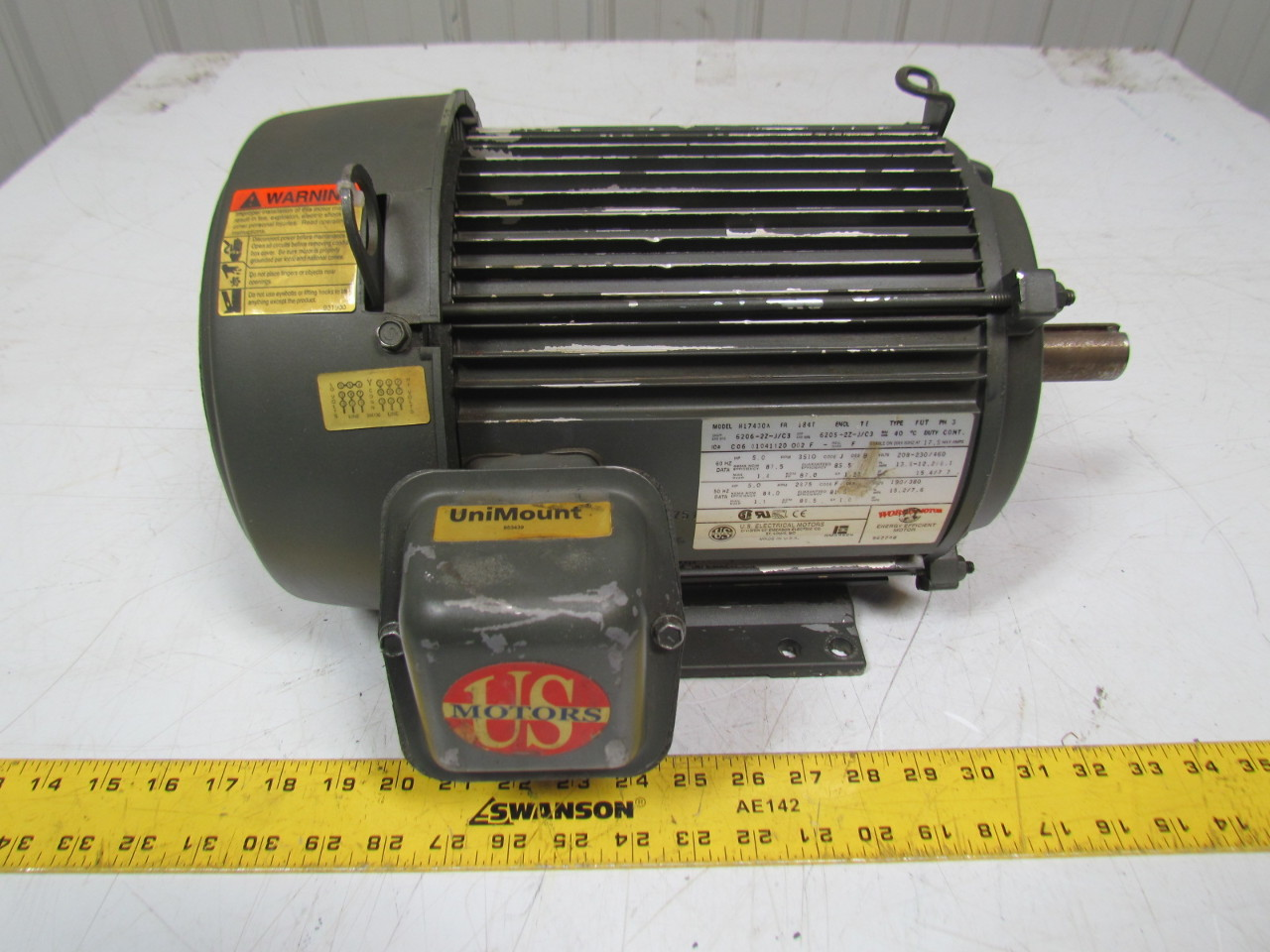 U S Motors H17430a 5hp Electric Motor 208 230 460v 3ph