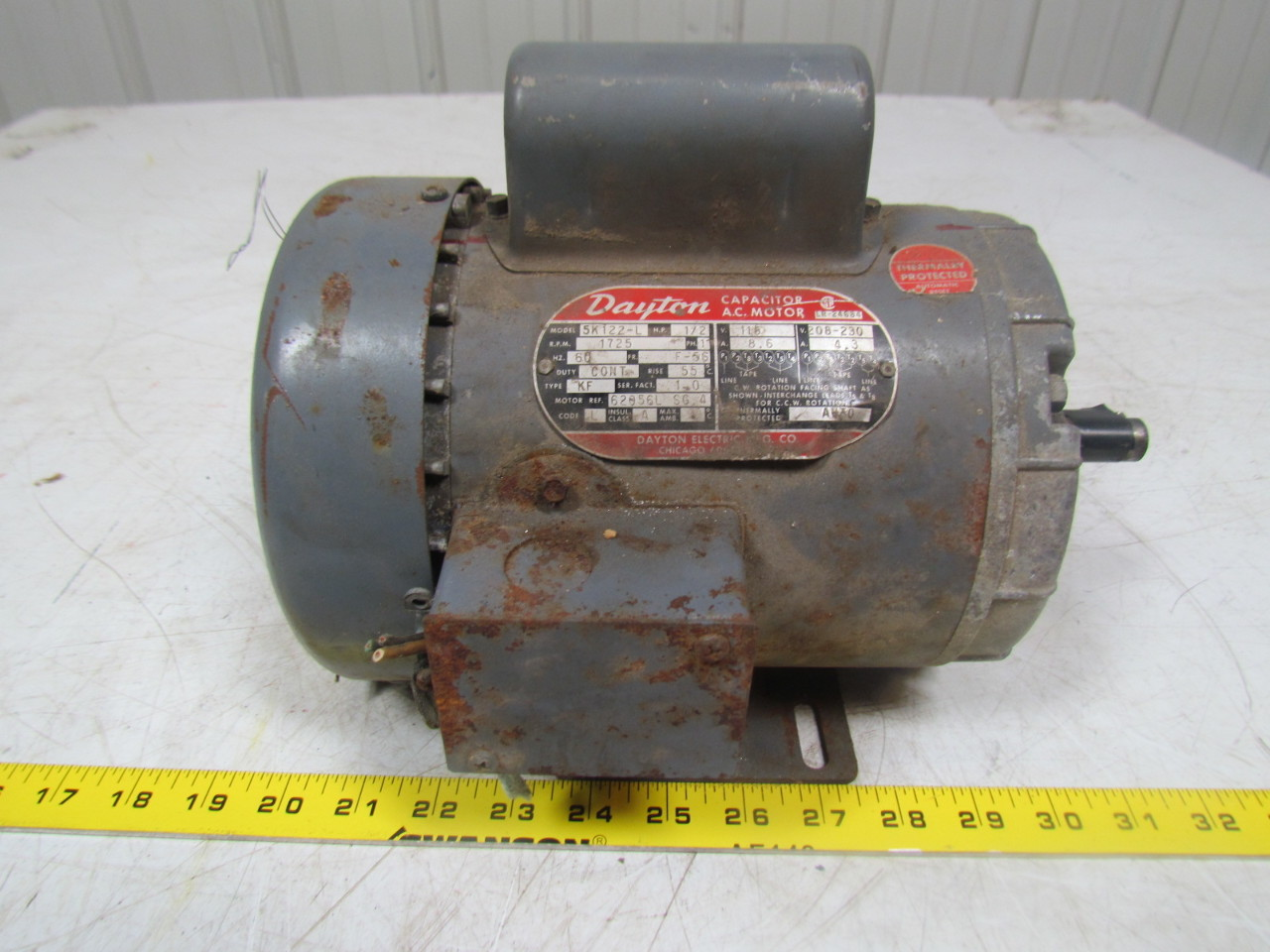 dayton 5k122 l 1 2hp capacitor ac electric motor 1ph 115