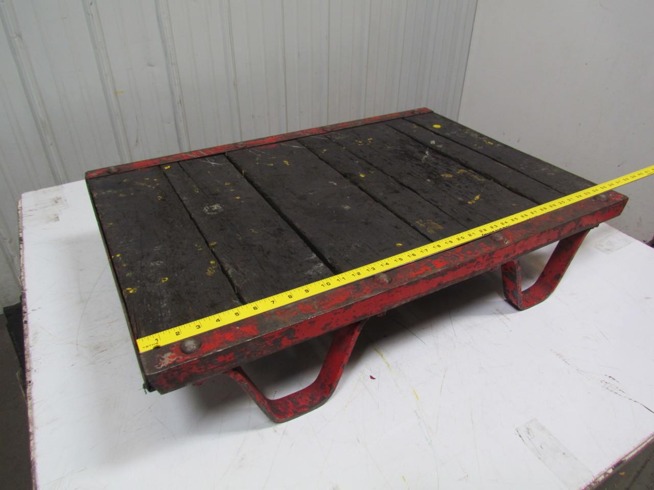 Vintage industrial pallet platform skid 2 39 x3 39 wood steel for Pallet platform