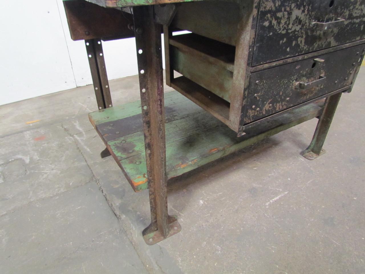 Vintage industrial butcher block workbench kitchen island 48
