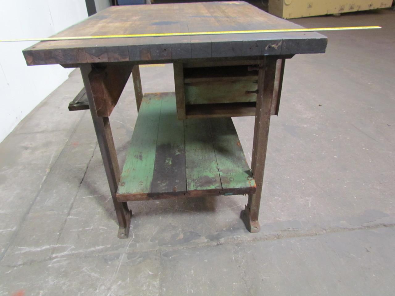 Industrial Kitchen Island Butcher Block : Vintage industrial butcher block workbench kitchen island 48