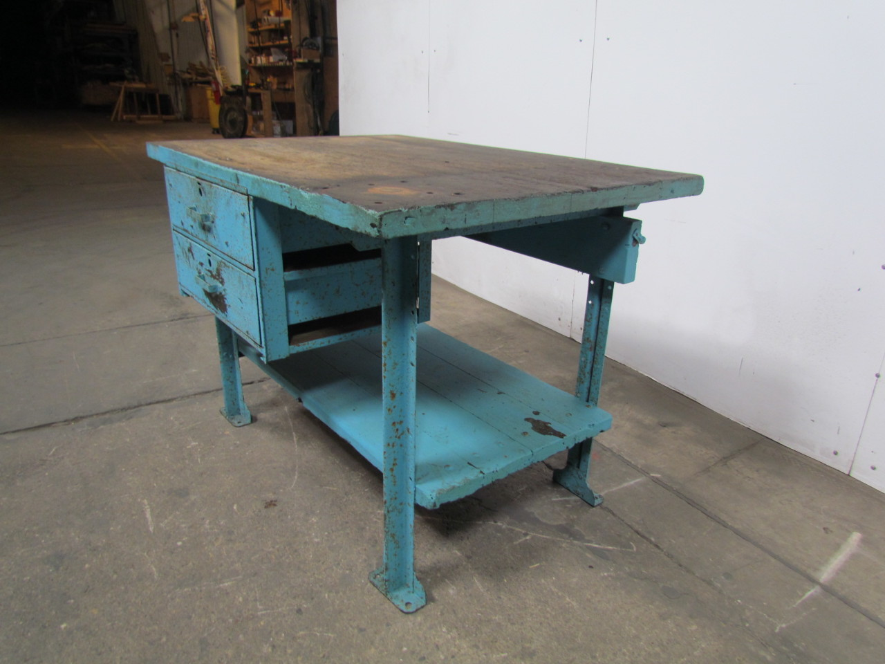 Butcher block workbench industrial table kitchen island 48 x34 1 4 34 tall - Industrial kitchen tables ...