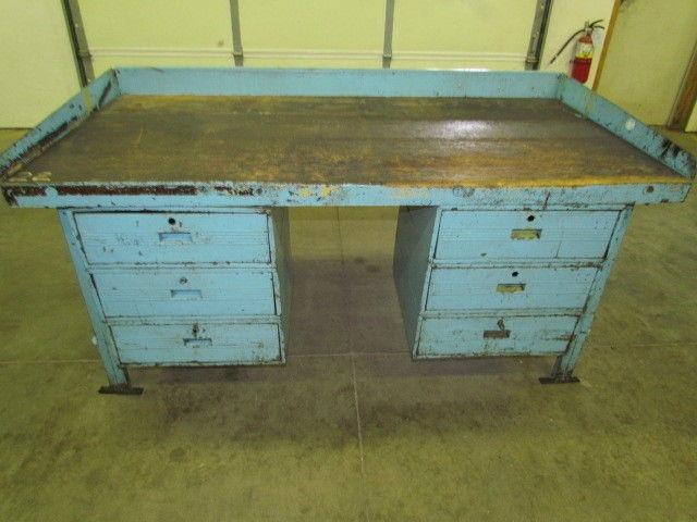 Vintage Steel Reloading Bench Industrial Workbench W 72x36 Butcher Block Top Ebay