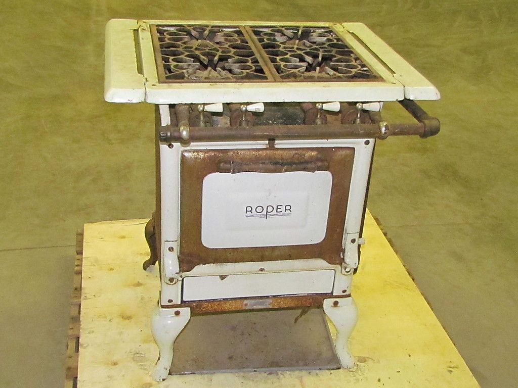 vintage 4 burner gas stove range antique geo d roper corp