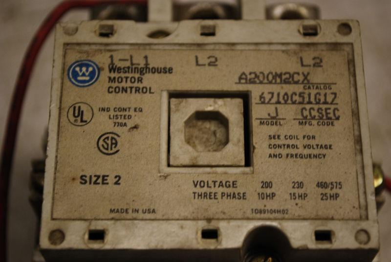 Westinghouse Motor Control A200m2cx 480 Volt Coil Ebay