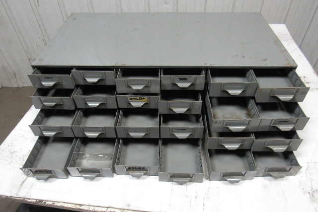 24 Drawer Industrial Metal Small Parts Bin Cabinet 34 Quot X17