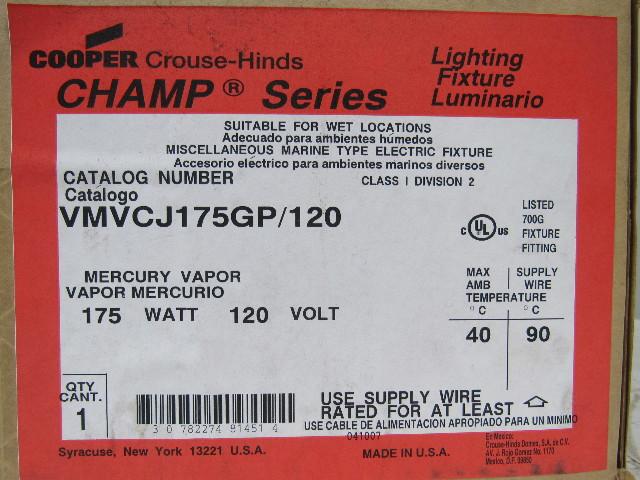 Cooper Crouse-hinds ... & Cooper Crouse-hinds VMVCJ175GP/120 Mercury Vapor Light Fixture ... azcodes.com
