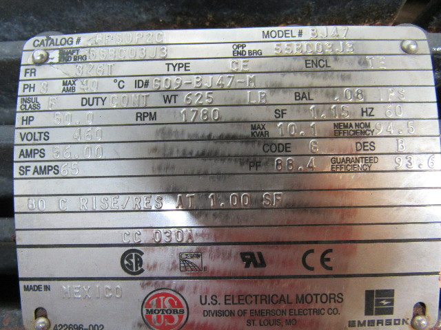 Us electrical motors 8p50p2c bj47 50hp 460v 60hz 1780rpm tefc 326t us electrical motors publicscrutiny Image collections