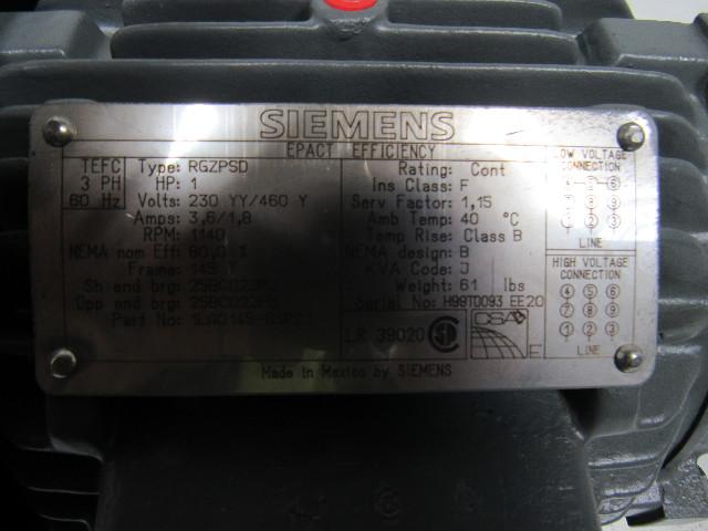 Siemens Rgzpsd 1hp Electric Motor 230 460v 3ph 145t Frame