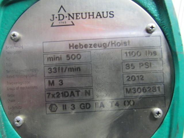 J D Neuhaus Mini 500 1100 Lb Air Hoist 85psi 16 Lift 12