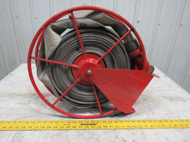 Swing Type Fire Hose ... & Swing Type Fire Hose Storage Reel W/35u0027 Hose u0026 Nozzle | Bullseye ...