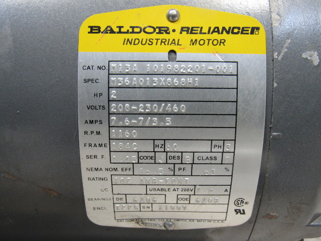 Baldor M13a 2hp 1160rpm 208 460v 7  8 U0026quot  Shaft Ac Motor