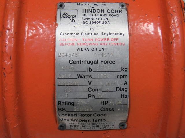 invicta b945  6 vibrator unit vibratory shaker motor 460v