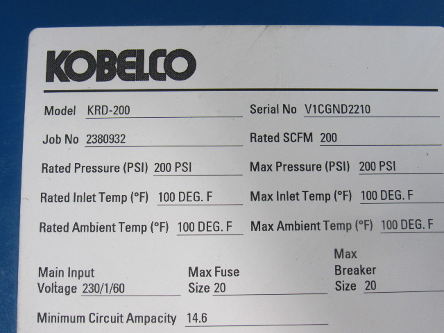 Kobelco KRD-200 200 PSI 200CFM 230V 1Ph 60Hz Compressed Air Dryer