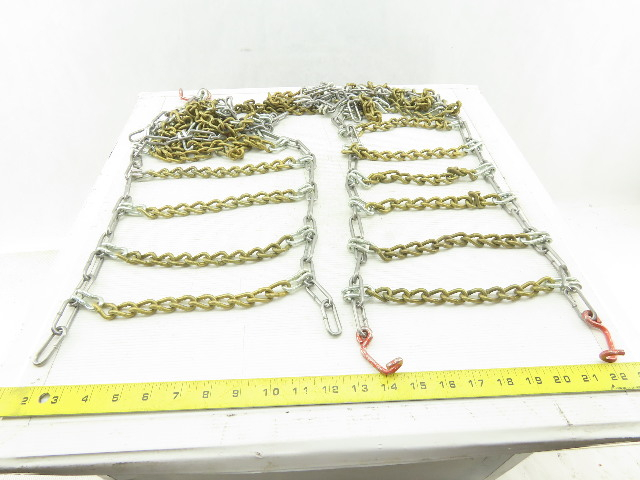"Type 2GT Code 9651 10"" x 36"" Tire Chain Snow Traction 16/6.50-8 Size Set Of 2"